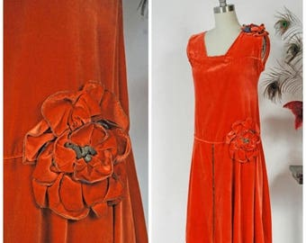 Memorial Weekend Sale - Vintage 1920s Dress - Exceptional Orange Velvet 20s Flapper Dress with Drop Waist and Large Two Tone Rosettes