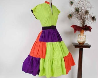 Memorial Weekend Sale - Vintage 1950s Dress - Bold Lime Green, Purple and Hot Coral Colorblock Cotton Circle Skirt 50s Summer Dress