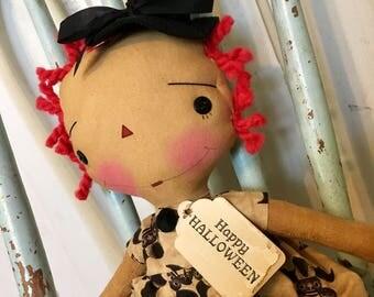 Happy Halloween raggedy ann Witch- Raggedy Annie - fall doll - Witch doll - Raggedy Ann doll - Witch Doll -
