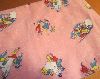 Vtg Baby Flannel / Pink Flannel Elfs Snowmen Ice Skating / Flannel Remnant / non Flame Retardant flannel / 29 x 16""