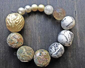 Pale art bead set by fancifuldevices- six (6) rustic handmade polymer clay, seven (7) vintage
