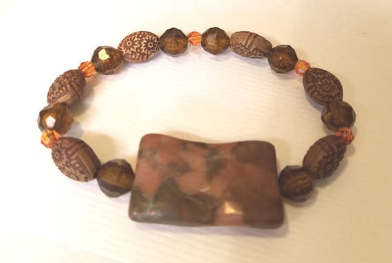 brown gemstone beaded bracelet stretch bead bracelet tone bracelet plastic beads boho hippy gypsy handmade wholesale jewelry