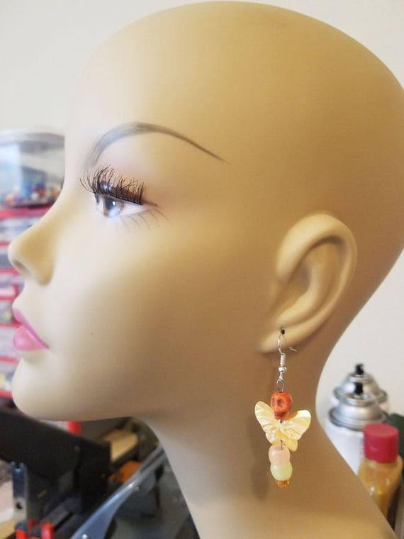 handmade skull butterfly earrings charm dangles earrings goth punk day of the dead glow in the dark jewelry