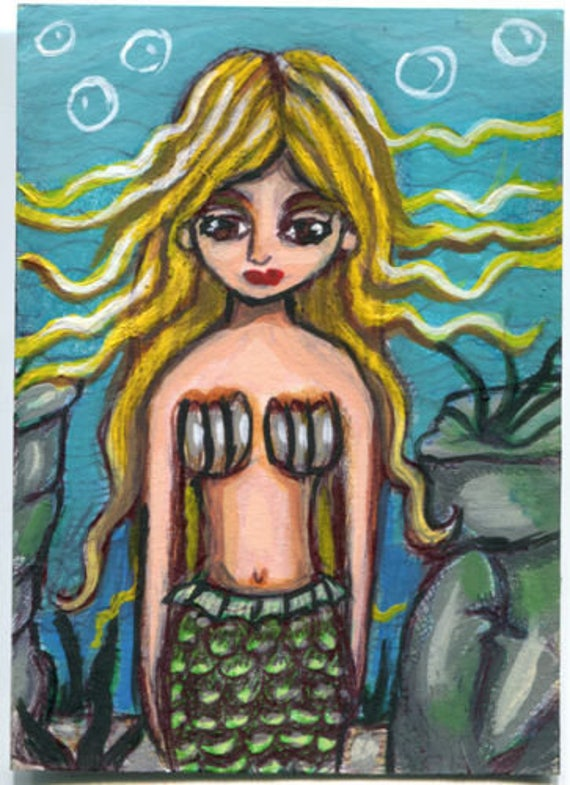 Little Blonde Mermaid  girl Aceo drawing ORIGINAL art mini painting ATC artist trading card