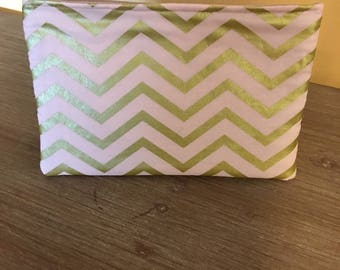 Pink and Gold Chevron Makeup Tote