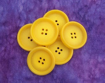 Yellow Sewing Buttons, 27mm 1-1/8 inch - Swirled Primrose Yellow Plastic Buttons - 6 VTG NOS Bright Daffodil Yellow Sew Thru Buttons  PL224