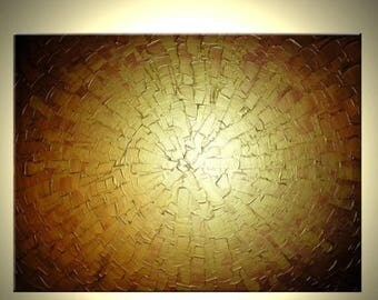 Textured Abstract Contemporary Metallic Gold Impasto Canvas Sculpture Painting Sale 22% Off