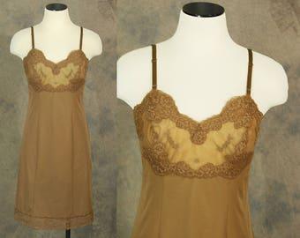vintage 60s Slip - Brown Full Slip Dress 1960s Lingerie Sz XS 32