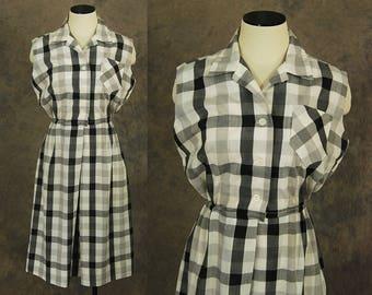vintage 60s Golf Dress - 1960s Black and White Plaid Day Dress Sun Dress Sportswear Sz M L