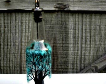 Dish Soap Dispenser,  Recycled Clear Glass Bottle, Painted Glass, Oil and Vinegar Bottle, Trees with Teal Leaves, Soap Bottle, Glass Art
