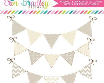 50% OFF SALE Instant Download Bunting Clipart Graphics Personal & Commercial Use Beige and Cream Digital Clip Art