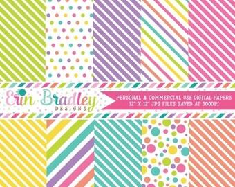 80% OFF SALE Easter Girls Digital Papers Green Purple Pink Yellow Blue Orange Stripes & Polka Dots Digital Paper Pack Instant Download