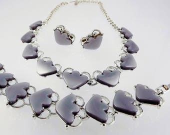 Gray Lucite Arrow Necklace, Bracelet, Earrings, !950's Thermoplastic Jewelry, Lucite Jewelry, Arrow Jewelry, 1950's Jewelry, Costume Jewelry
