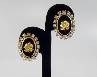 Vintage Intaglio Rose Earrings, Clip Earrings, Signed Jewelry, Rhinestone Rose Cameo, Celebrity Earrings, 1950's Jewelry