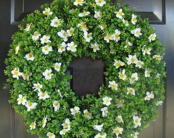 SUMMER WREATH SALE Housewarming Gift, Outdoor Decoration, Cottage Chic Door Wreath, 22 inch boxwood wreath (shown) silk flowers, Gift