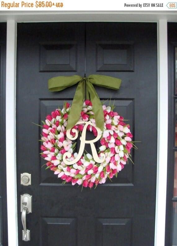 SUMMER WREATH SALE Pink Tulip Spring Wreath Summer Wreath- Mother's Day Gift- Spring Decor- Monogram Wreath- Pink Shabby Chic, The Original
