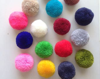 Yarn Pom Pom Set of 16, red, green, lime, gray, blue, brown, pink, yellow, pink, off-white, crimson, crafting, balls
