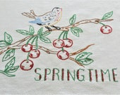Spring Time Towel, Hand Embroidered, Cherry Towel, Huck Linen Towel, Guest Room Towel, Kitchen Bird Towel, FREE USA Shipping with 2 Towels