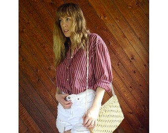 15% Memorial Day Wknd ... Striped Oversized Boyfriend Shirt - Vintage 60s - L