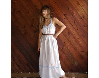 20% off SUMMER SALE. . . Clean White Cotton Sleeveless Maxi Dress - Vintage 90s - SMALL
