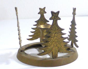 Vintage Brass Christmas Tree Candle Holder Single Taper Candlestick Holder Circular ChristmasTree  Candle Holder Holiday Decor