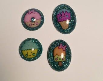 Glitter sweets magnet set