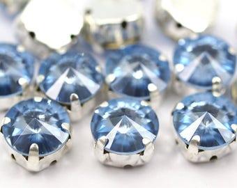 Ss47 Light Sapphire, 20 Ss47 Light Sapphire Rivoli Sew On Rhinestone Silver Plated Brass Prong Setting 4 Hole Slider 10.5mm Y260