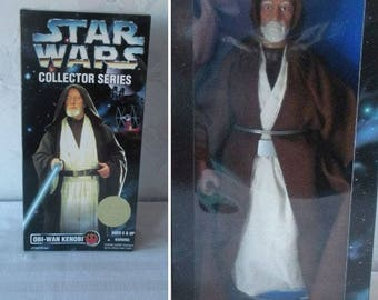 "1996 Star Wars Collector Series OBI-WAN KENOBI 12"" Poseable Action Figure with Signature Lightsabre in Sealed Package"