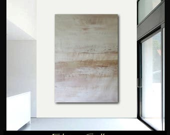 Extra large 60x45 original abstract painting on canvas by Elsisy  Brown cream white.  Free US shipping