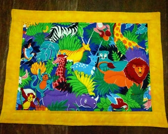 2 Placemats Quilted Jungle Animals Children's Place Mats