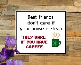 Best Friends and Coffee - counted cross stitch chart - downloadable chart