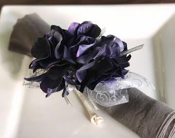 Napkin Ring - Sapphire Blue Hydrangea - Wedding Decoration - Wedding Showers - Easter