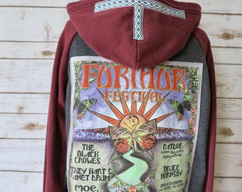 Grateful Dead Further Festival Ratdog Bob Weir Woven Vintage Trim Upcycled Sweater Hoodie Sweatshirt Festival Womens Size Small