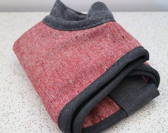 red speckle...winter coat for an italian greyhound in vintage wool and polar fleece