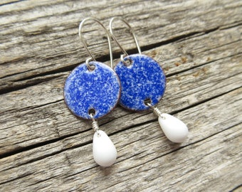 Blue Dangle Earrings - Royal Blue Enamel Earrings with White Glass Drops - Gift for Woman