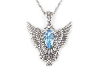 Uplifted Spirit Aquamarine Necklace - Guardian Angel Wing Necklace, March Birthstone Necklace, Memorial Necklace, Wing Jewelry, Skyward