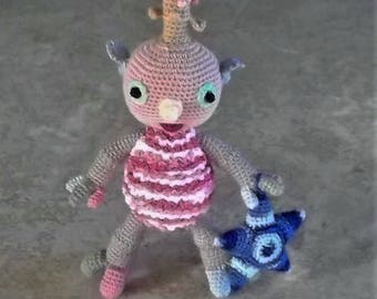 Bonnie's -OOAK  Crochet Cotton Thread Item Peachy Pink Alien Doll & Her Blue Star Pillow  @ cyicrochet* Not A Toy
