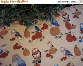 SALE Autumn Table Runner Owls Pumpkins Padded