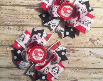 Snoopy Character inspired pigtail bows boutique bows