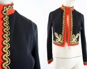 Vintage Black Red and Gold Applique Crop Military Style Long Sleeve Polyester Retro Open Front Lightweight Jacket/Cardigan
