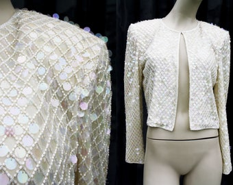 Nightline Della Roufogali White and Cream Colored Sequin Crop Open Front Silk Cardigan Jacket with Sequin Embellishment