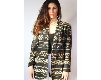 Oversize Blazer / Vintage / Rafaella / Linen / Cotton / Abstract Design / Boyfriend Blazer / Ethnic Print