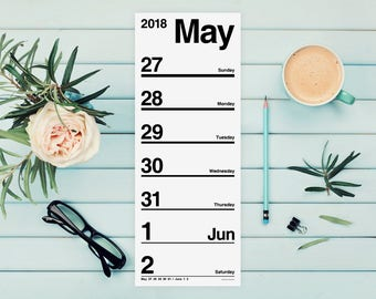 Helvetica 2018 Weekly Calendar Notepad (large magnetic note pad, modern day planner, organized to do list, wall or desk planning organizer)