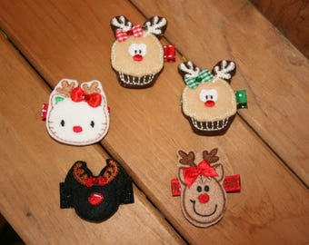 Choose Your Favorite Reindeer Clippie, Christmas Hair Clips