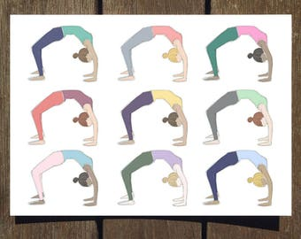Wheel Pose/Backbend (Repeat) - Blank Yoga Pose Greeting Card