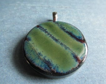 Deep Red brick and green striated pendsnt with bail, Layers of Glaze Porcelain pendant, , porcelain , Pendant, Porcelain Pendant, tracee