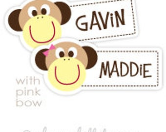 monkey Mini die cut labels 1.5 inches wide - seen in Parents Mag and Family Fun Mag - waterproof label - does not fade - dishwasher safe