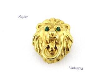 Napier Lion Pin Green Rhinestone