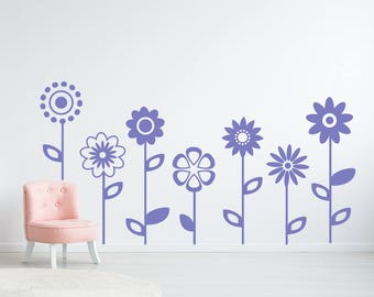 Flower Wall Decal, Girls room decor, Bedroom wall decor, Large flower decals, Girls wall decals, Flower wall art decor, Vinyl wall decal 240