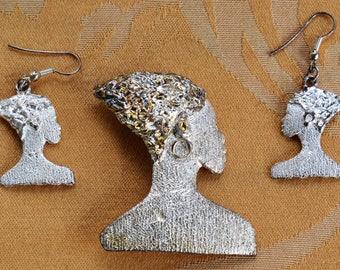 African Woman Brooch Set, Pierced Earrings, Vintage, Tribal (AJ11)